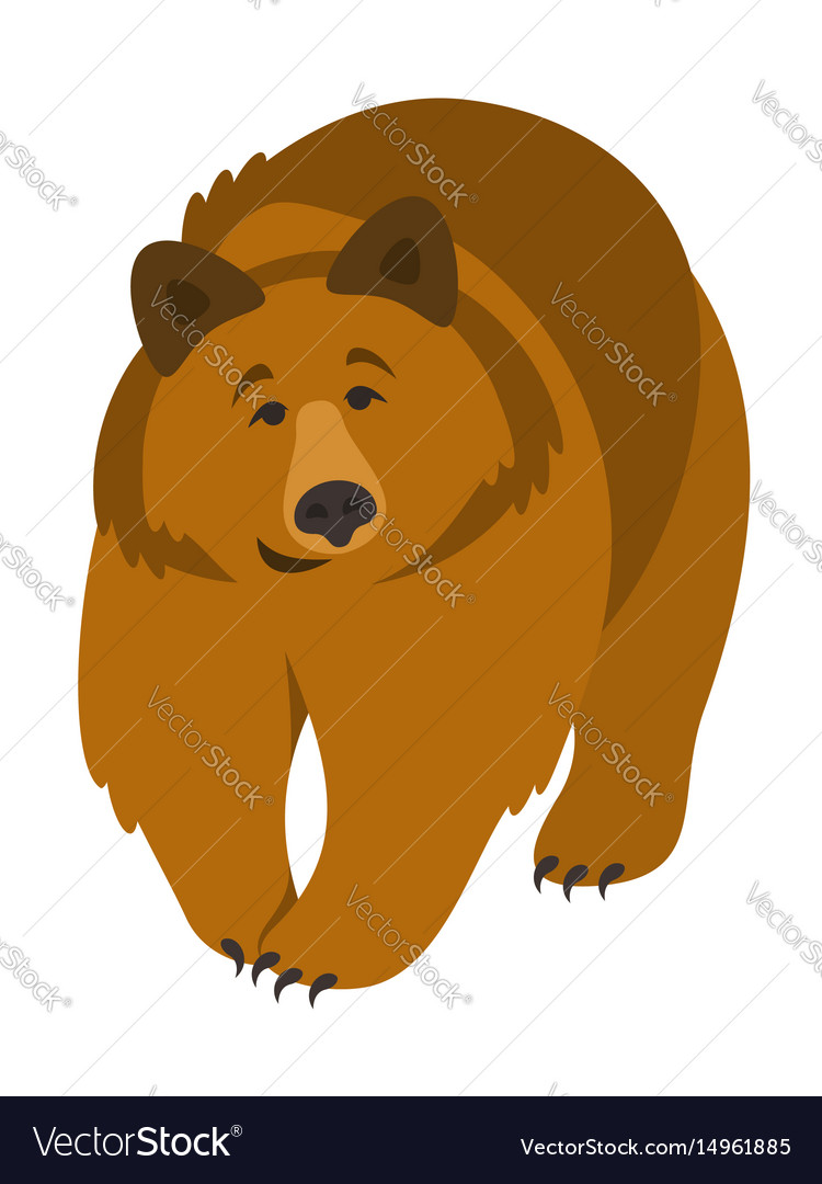 Cute smiling grizzly bear cartoon