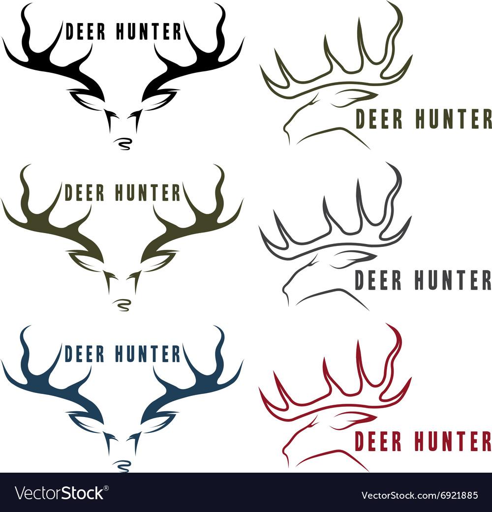 Deer hunter vintage emblems set