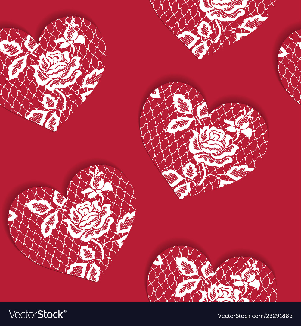 Elegant seamless pattern valentines day with lacy