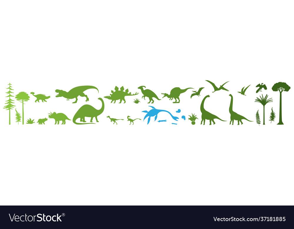 Green dino silhouettes