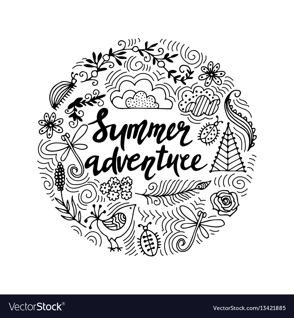 Hand drawn summer themed phrases modern style