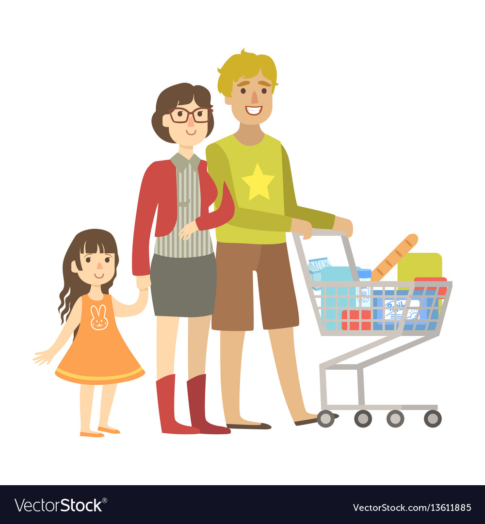 Parents and little daughter shopping for groceries