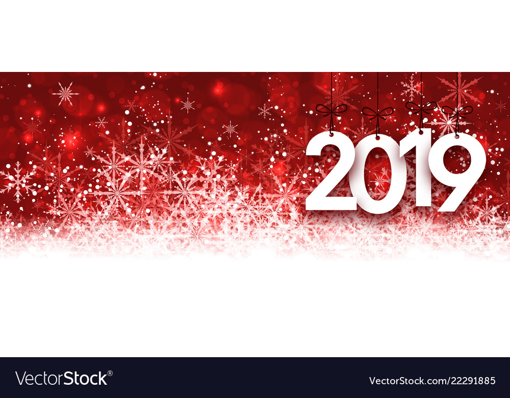 red 2019 new year banner with snowflakes vector image