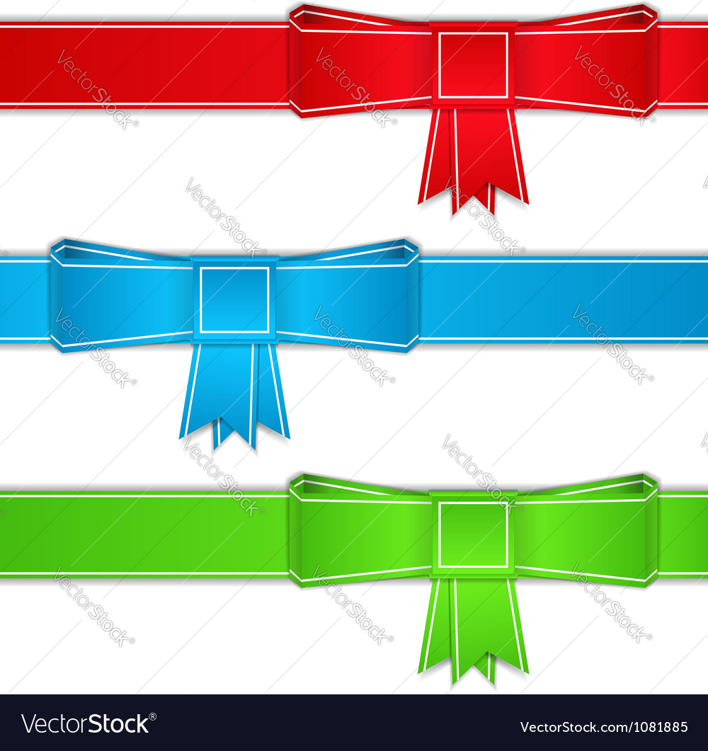 Ribbons with bows origami style vector image