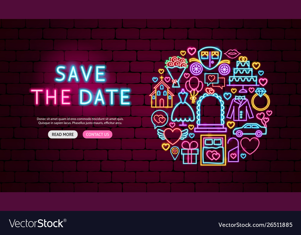 Save date neon banner design