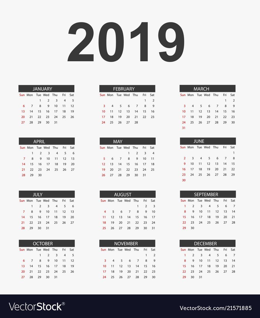 Simple calendar 2019