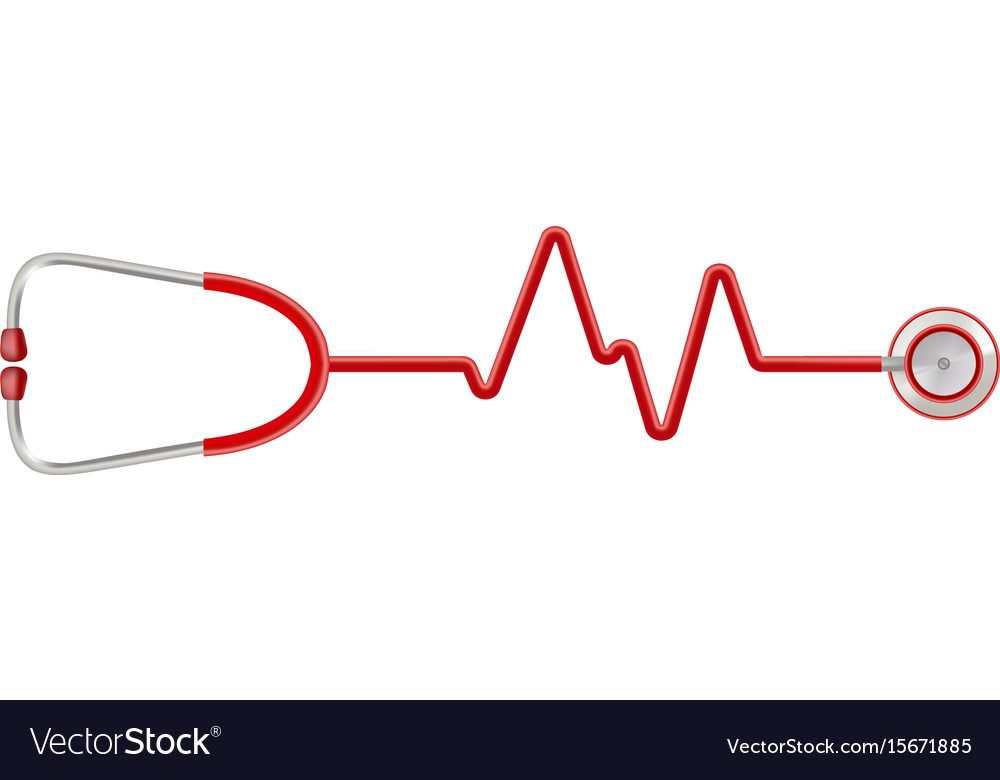 stethoscope in the shape of a heart beat on a ekg vector image rh vectorstock com vector analysis ecg vector analysis ecg