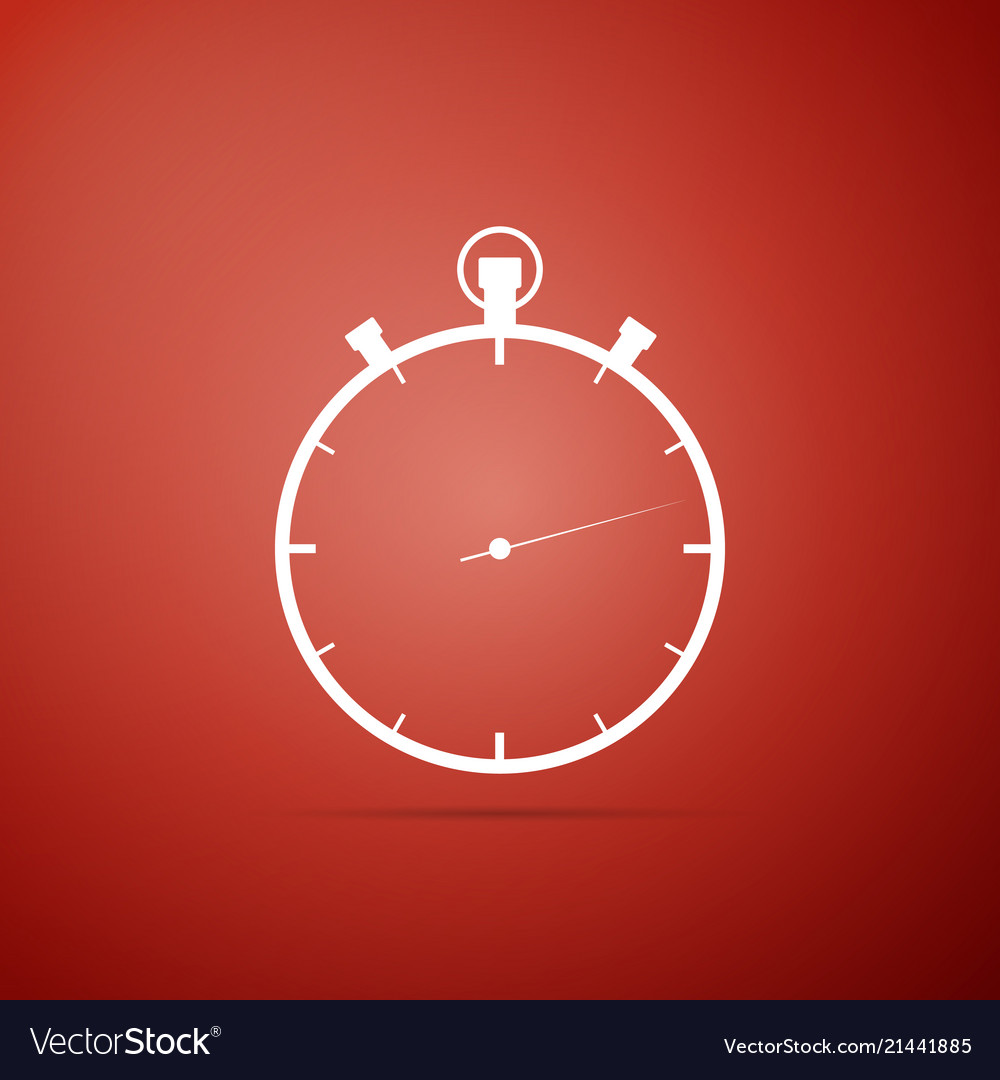Stopwatch icon on red background time timer sign