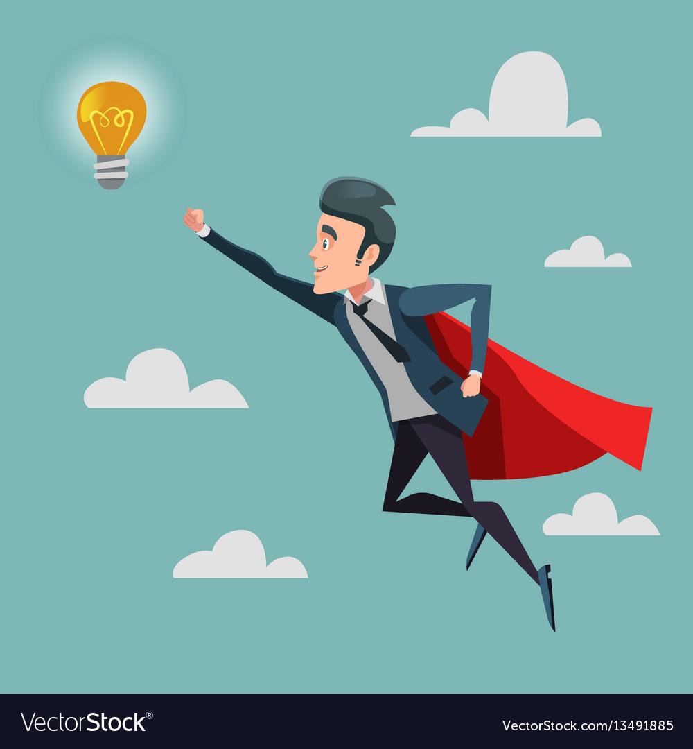 Super businessman flying to idea light bulb