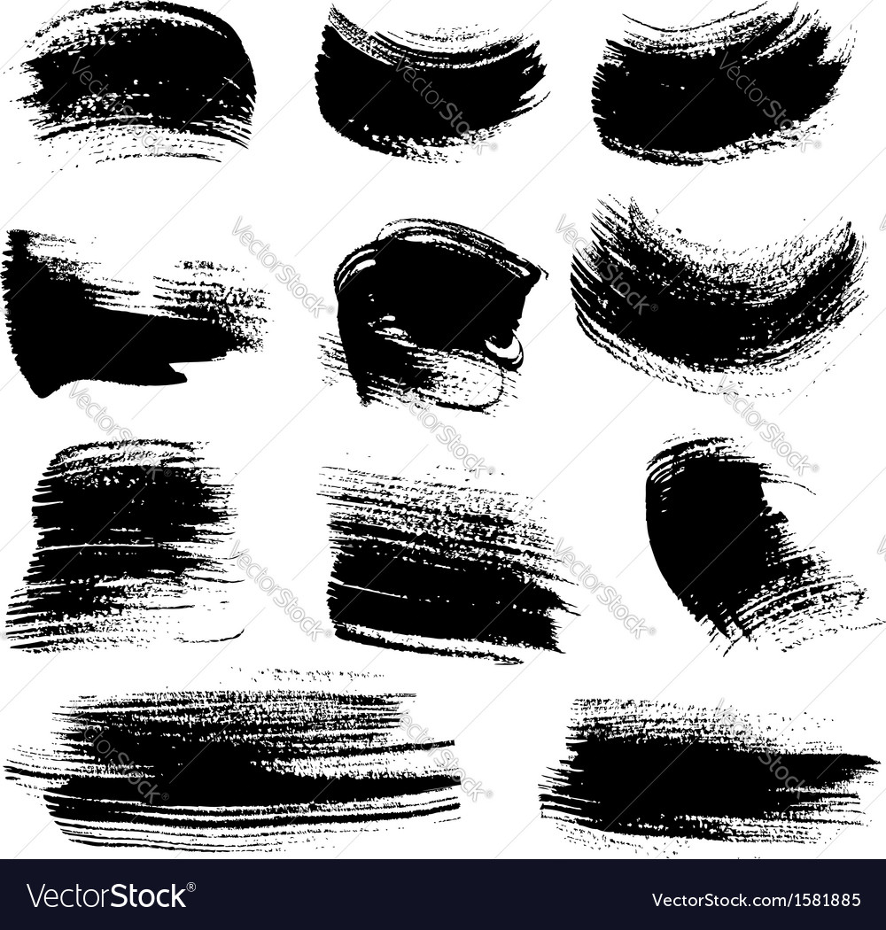 Textured brush strokes drawn a flat brush and ink