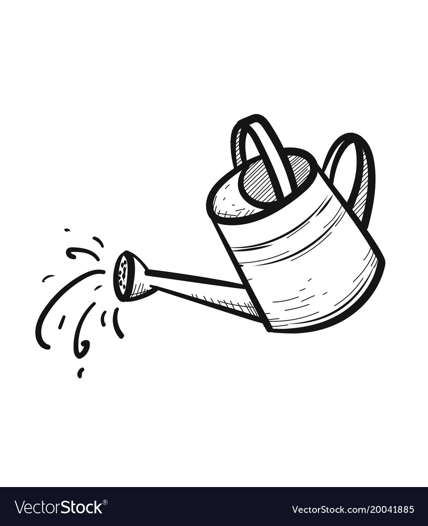 Watering can hand drawn sketch icon