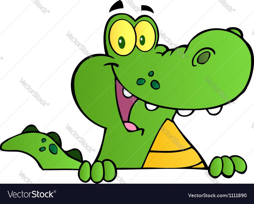 Alligator Smiling Over A Sign Board