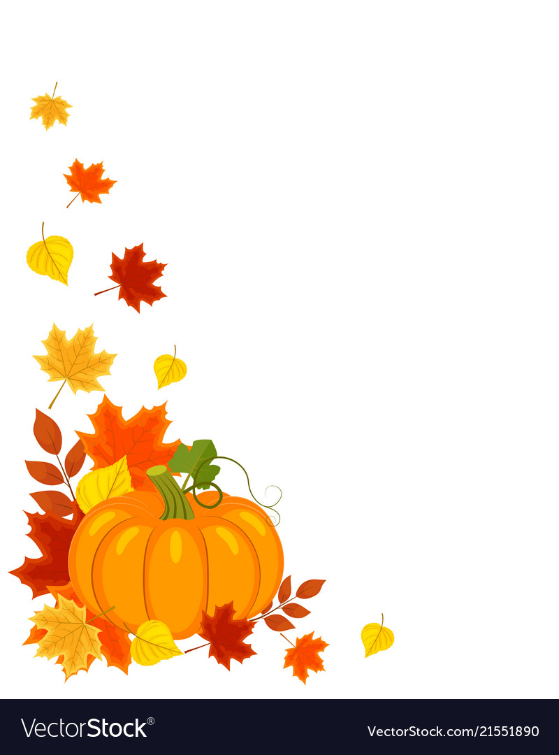 Background with autumn leaves pumpkin