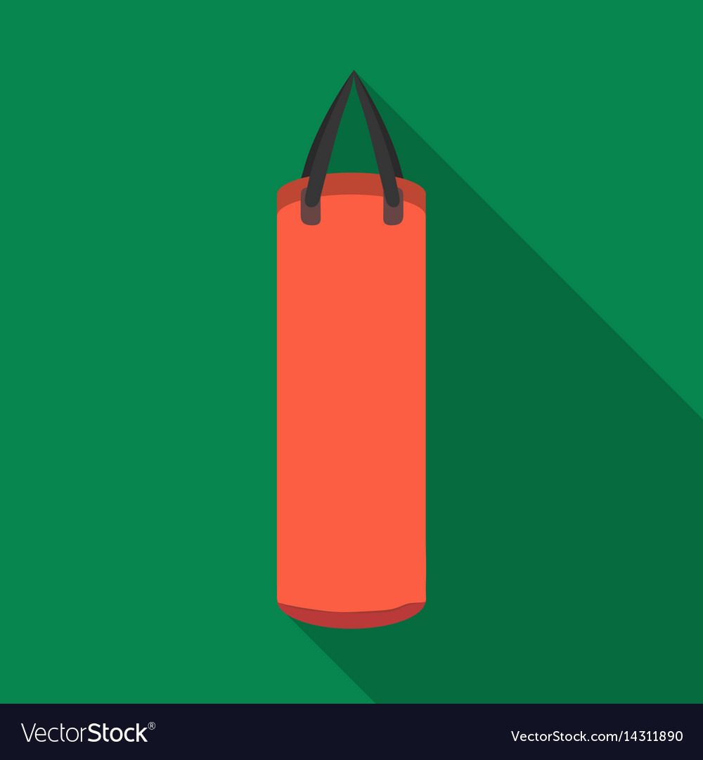 Boxing punching bag icon in flate style isolated