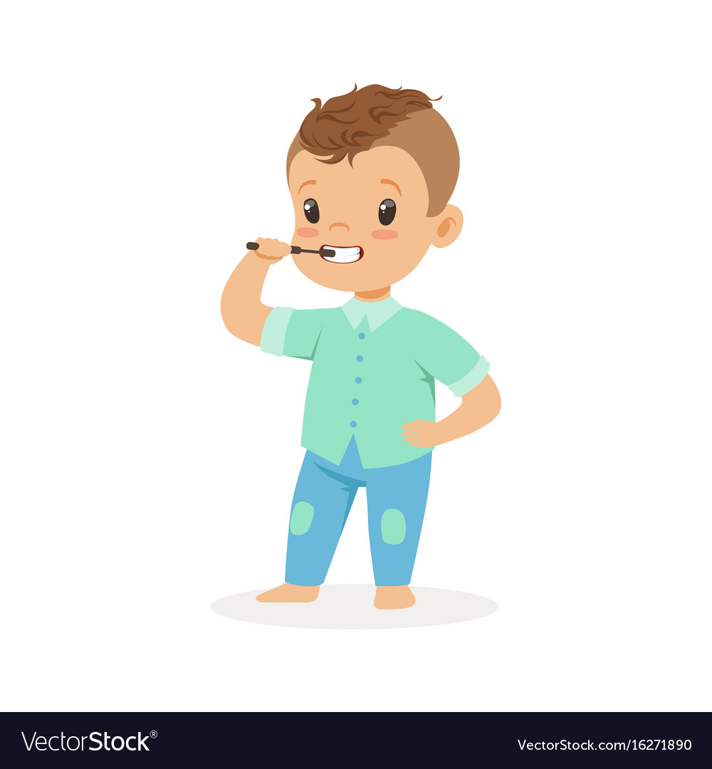 Cute Video Of Dentist Entertaining Toddler Goes Viral: Cute Cartoon Boy Brushing His Teeth Kids Dental Vector Image