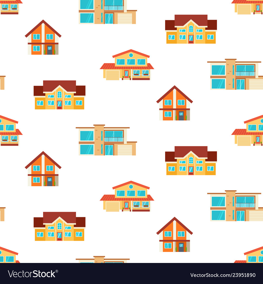 Houses seamless repeat pattern