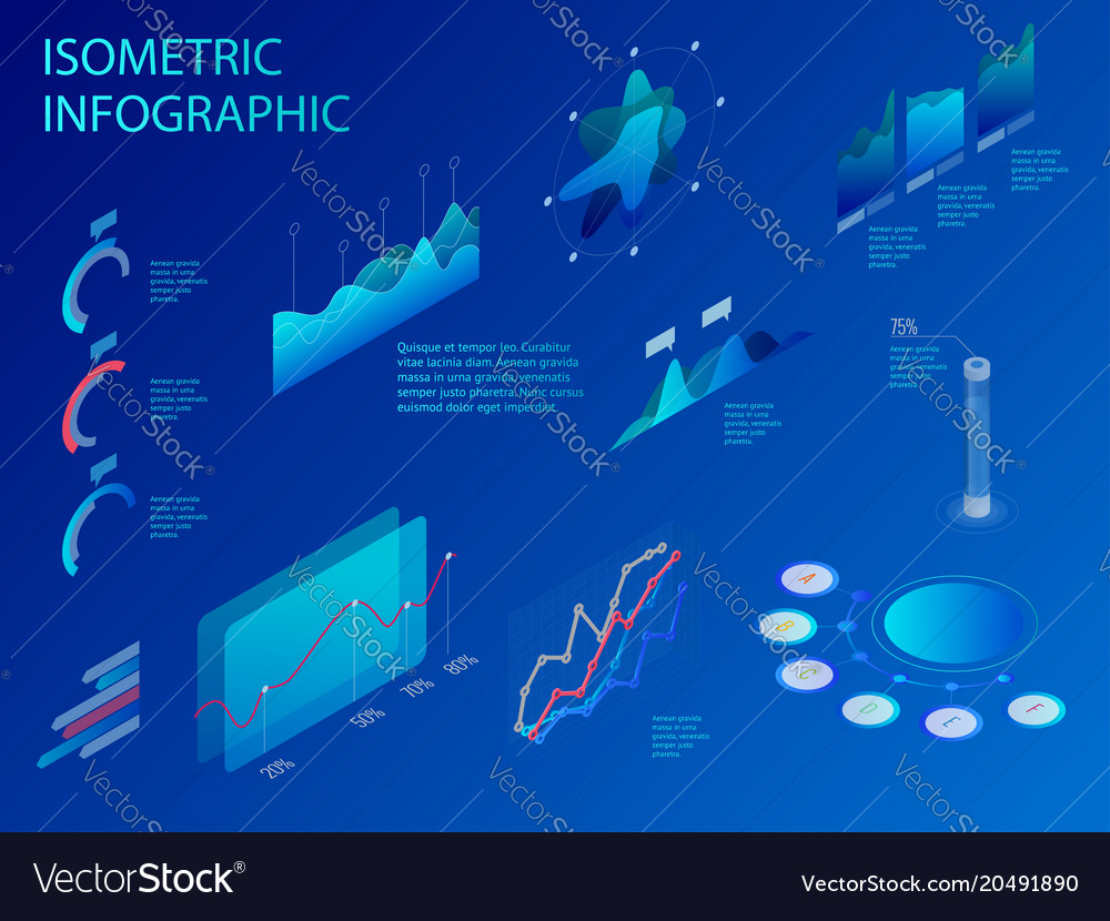 Isometric set of infographics with data financial