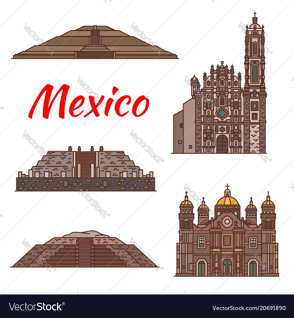 Mexico landmarks aztec architecture icons