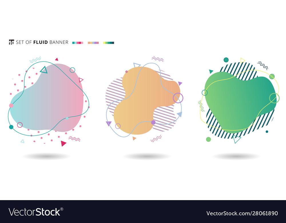 Set banner colorful modern fluid shapes