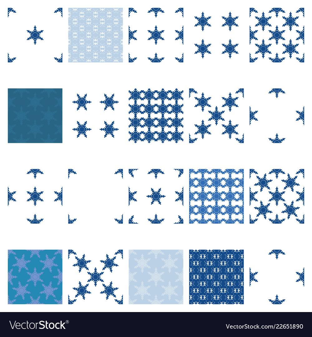 Simple snowflake seamless set