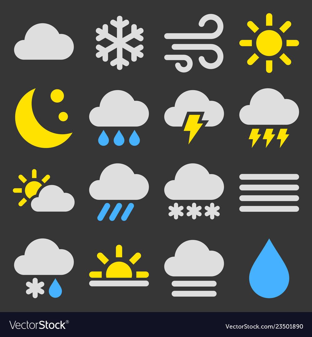 Weather icons set on black background