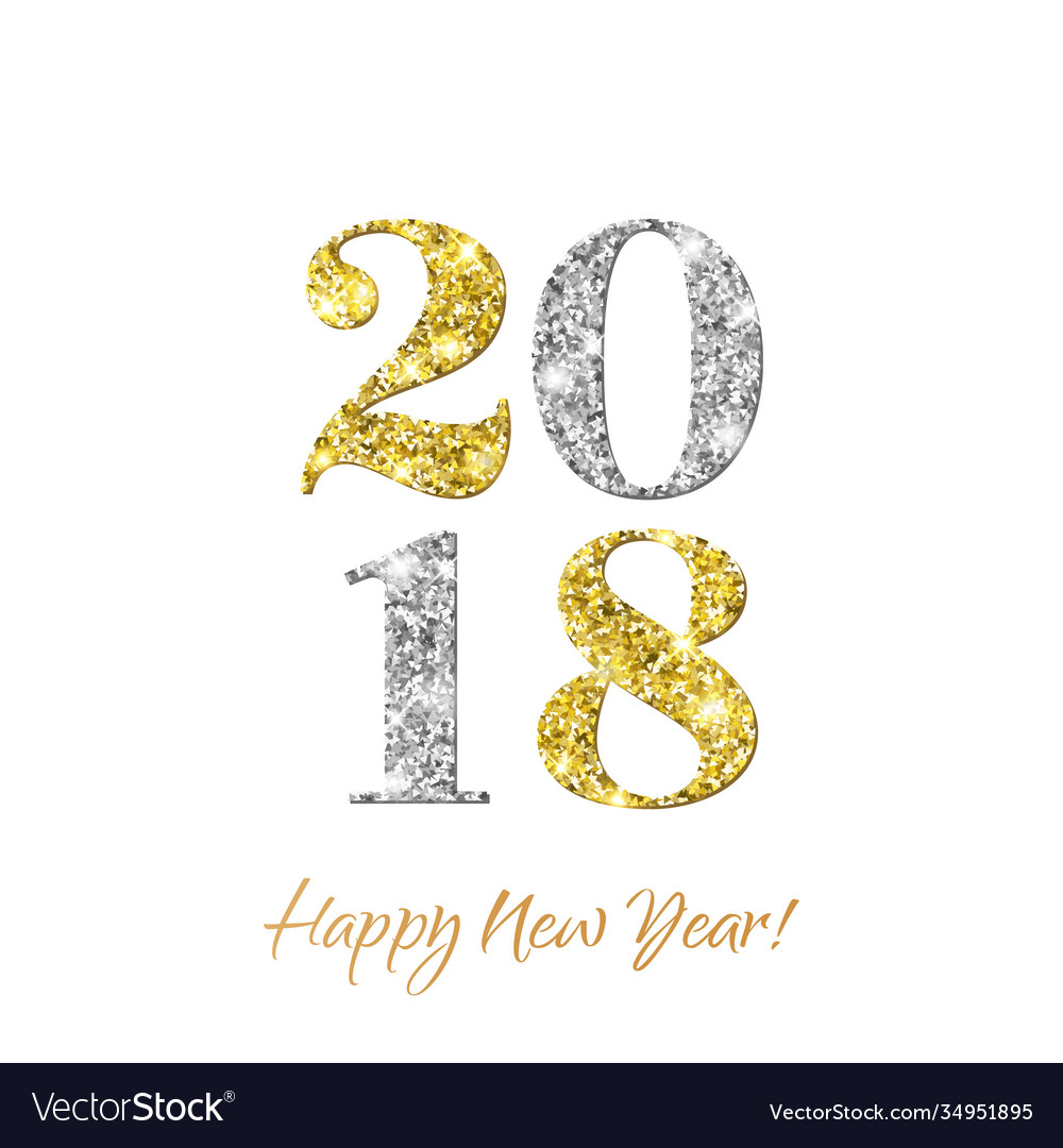 2018 happy new year with gold and silver glitter