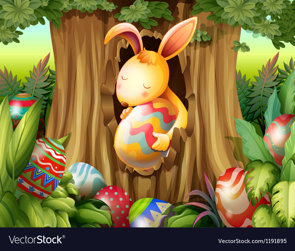 A rabbit inside the hole of a tree surrounded with