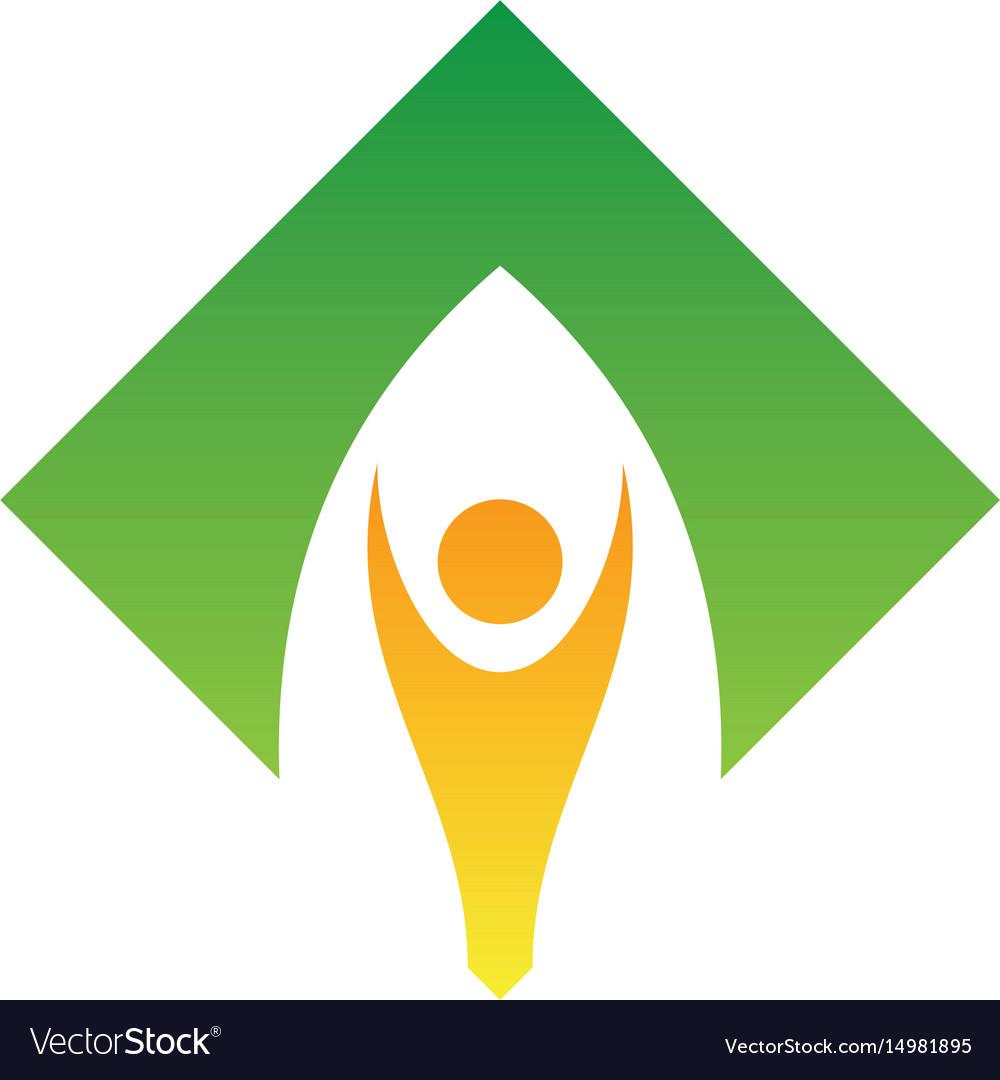 Abstract human hand up logo image vector image