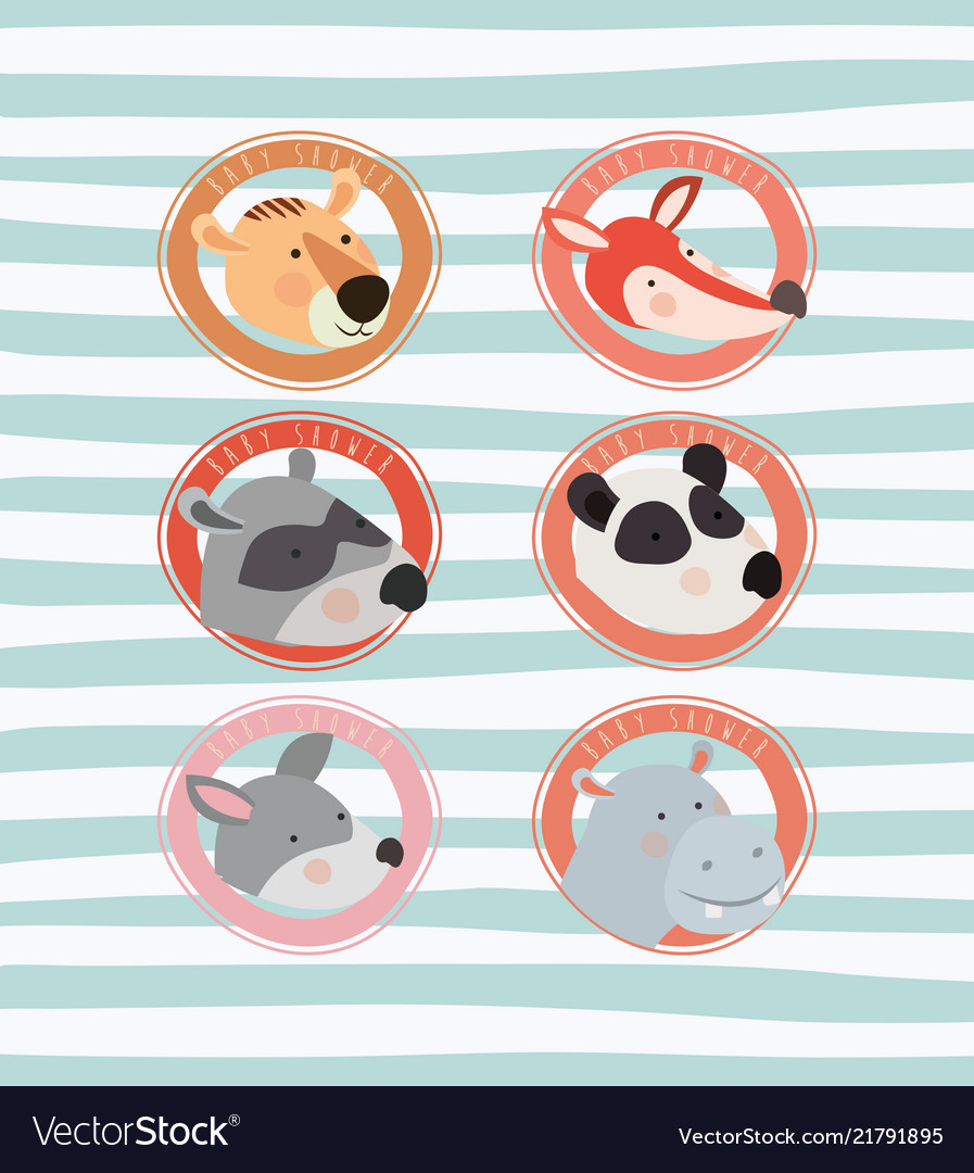 Baby shower card with cute animals