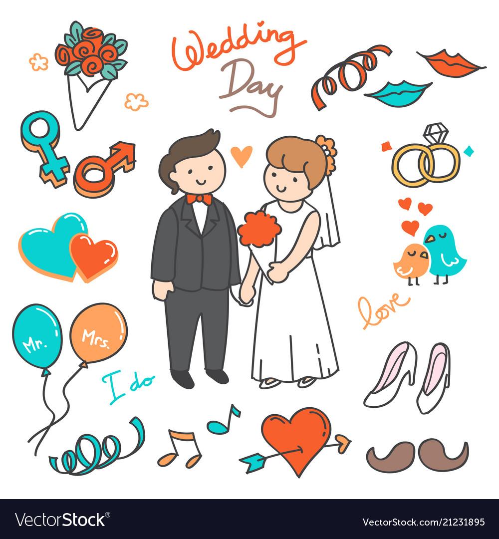Bride and groom wedding elements doodle