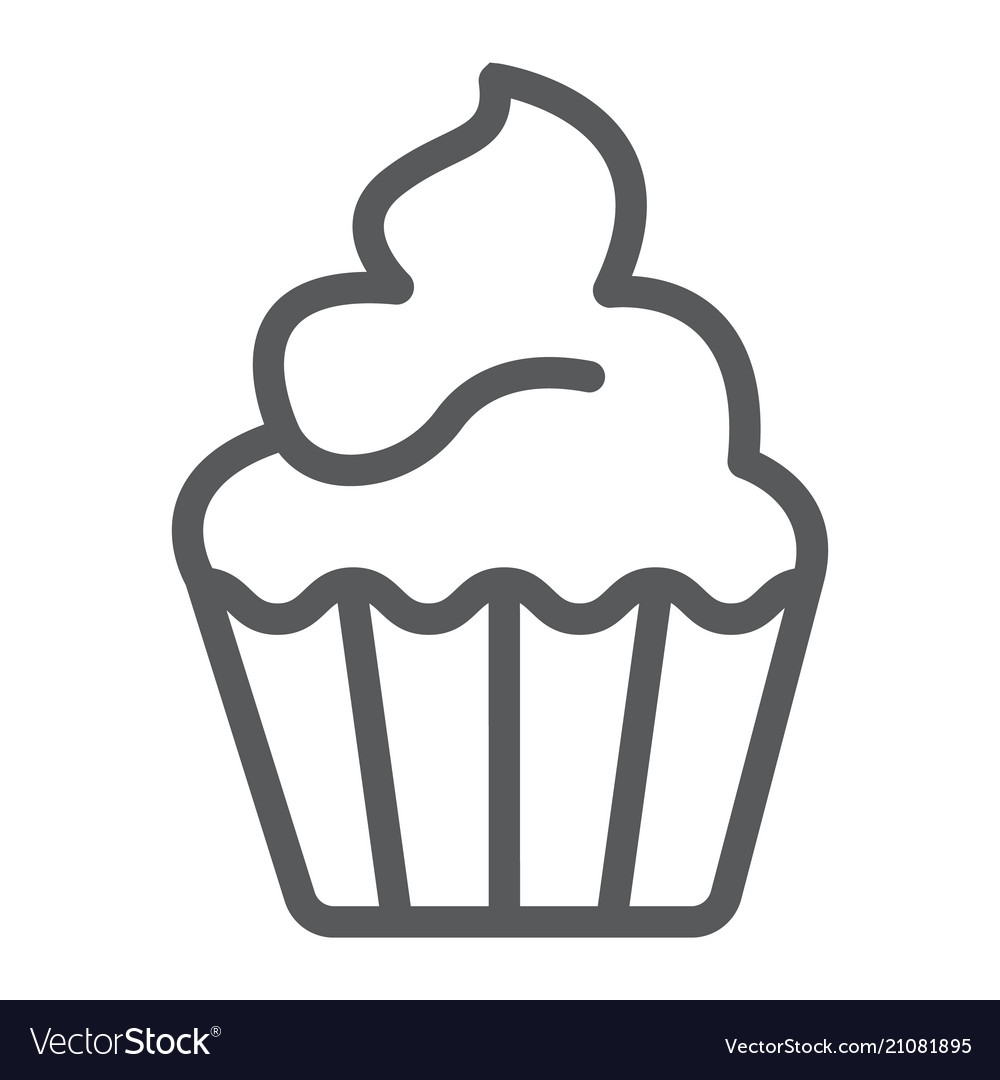 Cupcake line icon sweet and tasty dessert sign