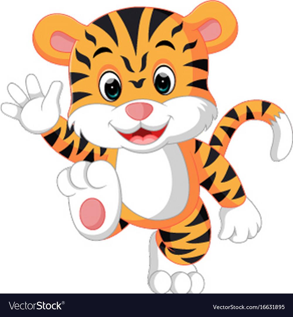 Cute tiger cartoon Royalty Free Vector Image - VectorStock