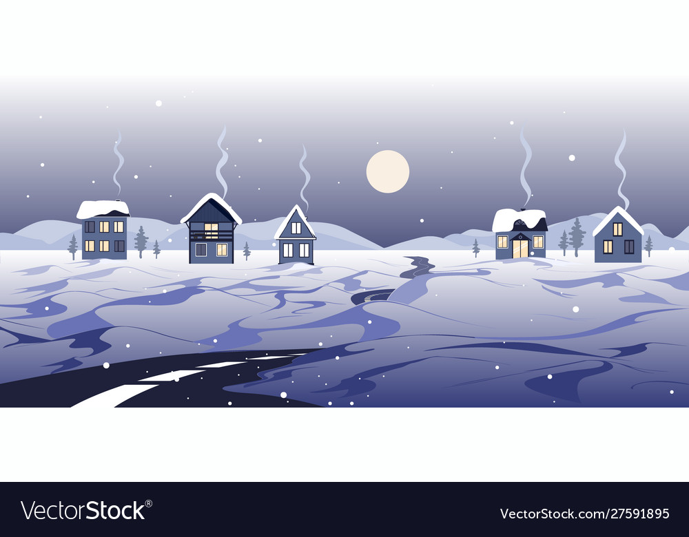 Fairy winter landscape with road houses and snowy