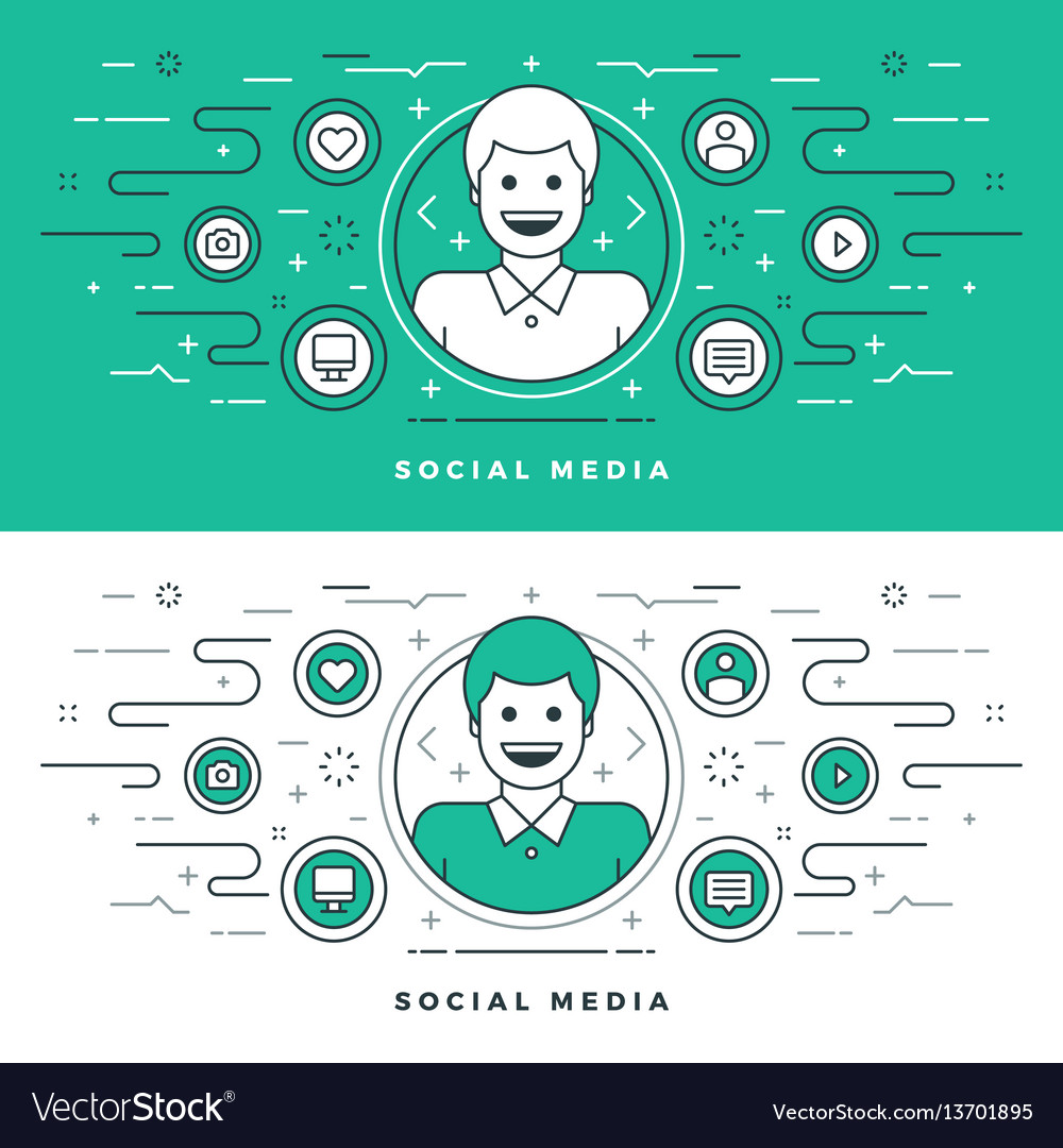 Flat line social media and network concept