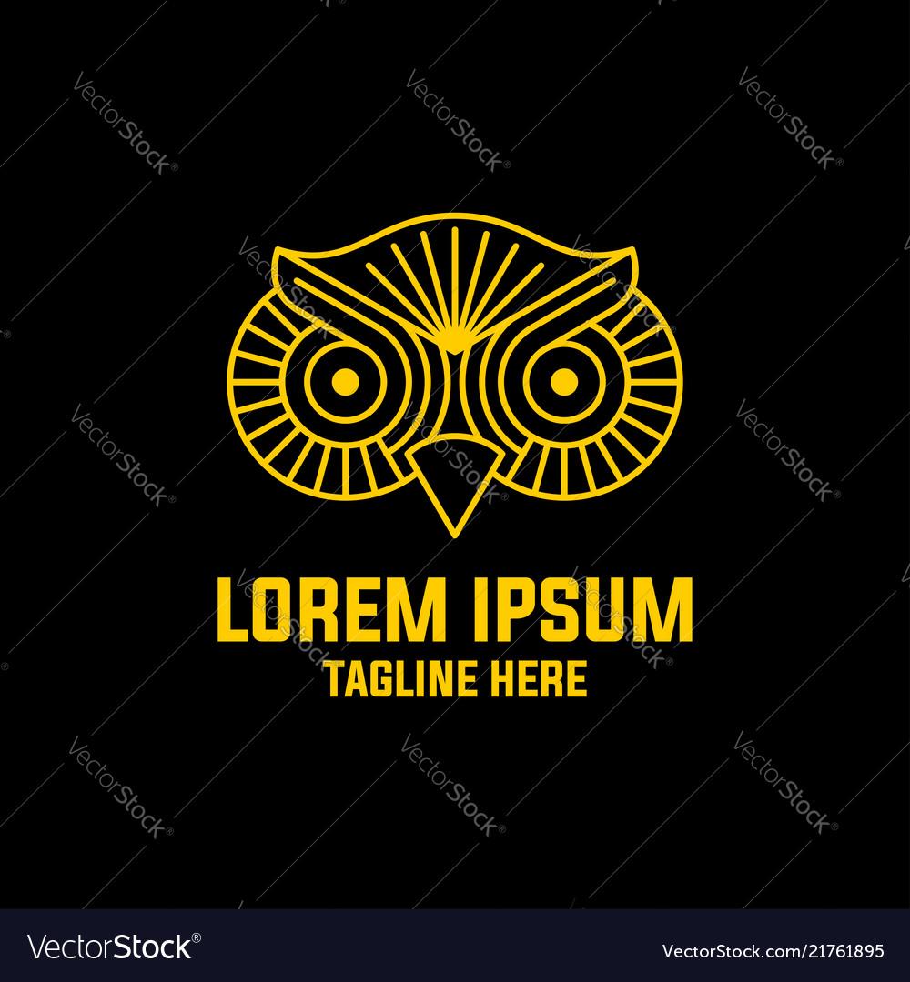 Owl head line art logo education symbol