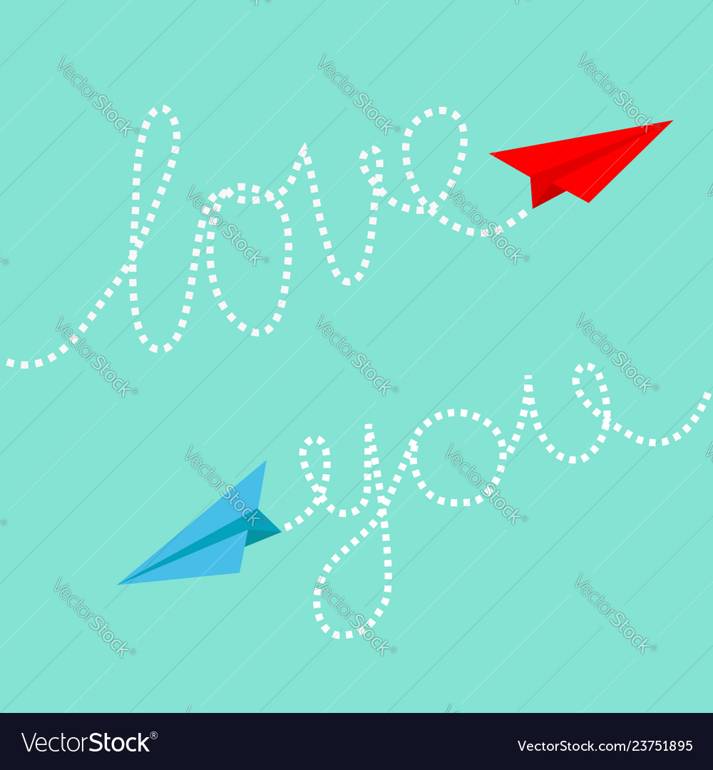 Red and blue origami paper planes dash line text