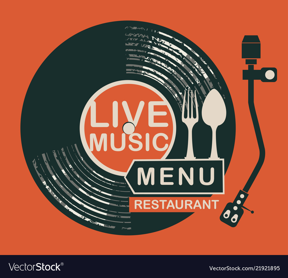 Restaurant menu with record player and cutlery