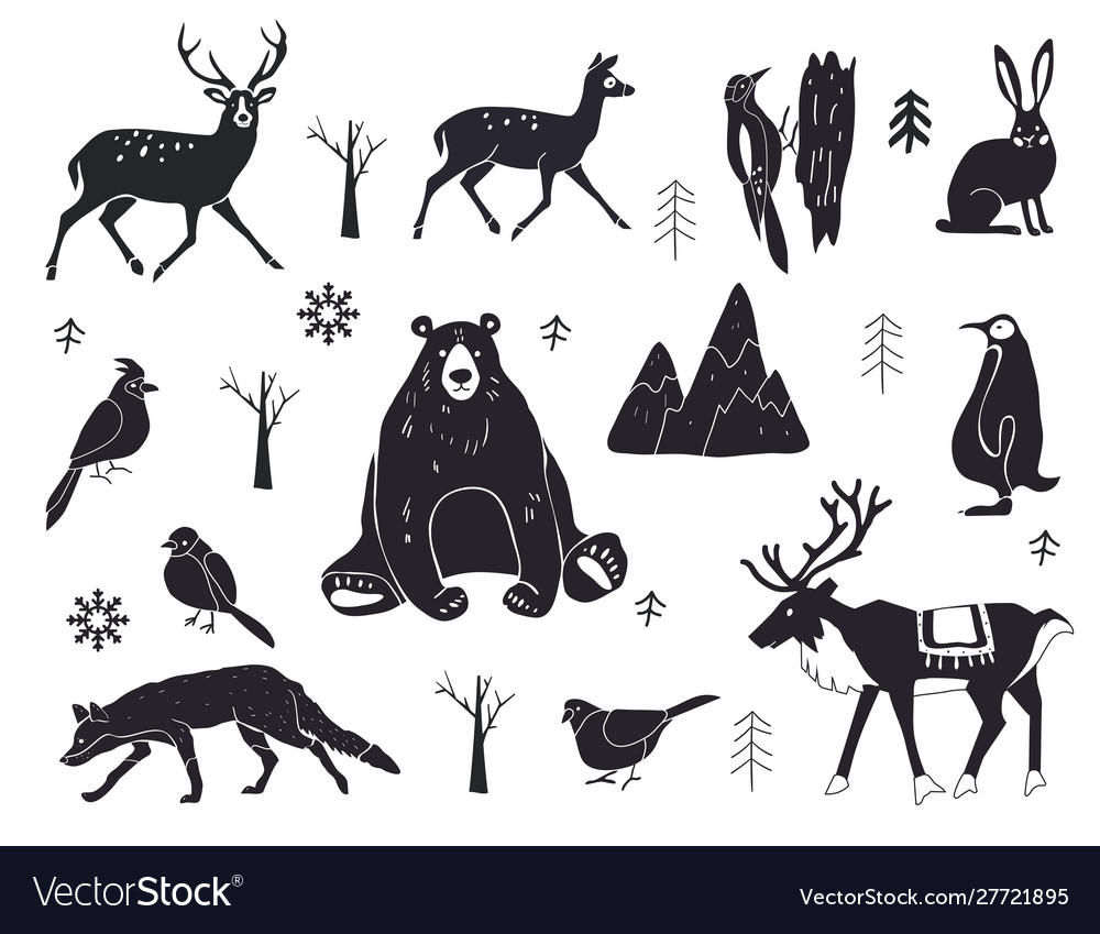 Set northern animals silhouettes set of