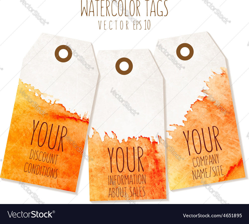 Set of hand drawn tags with watercolor background vector image