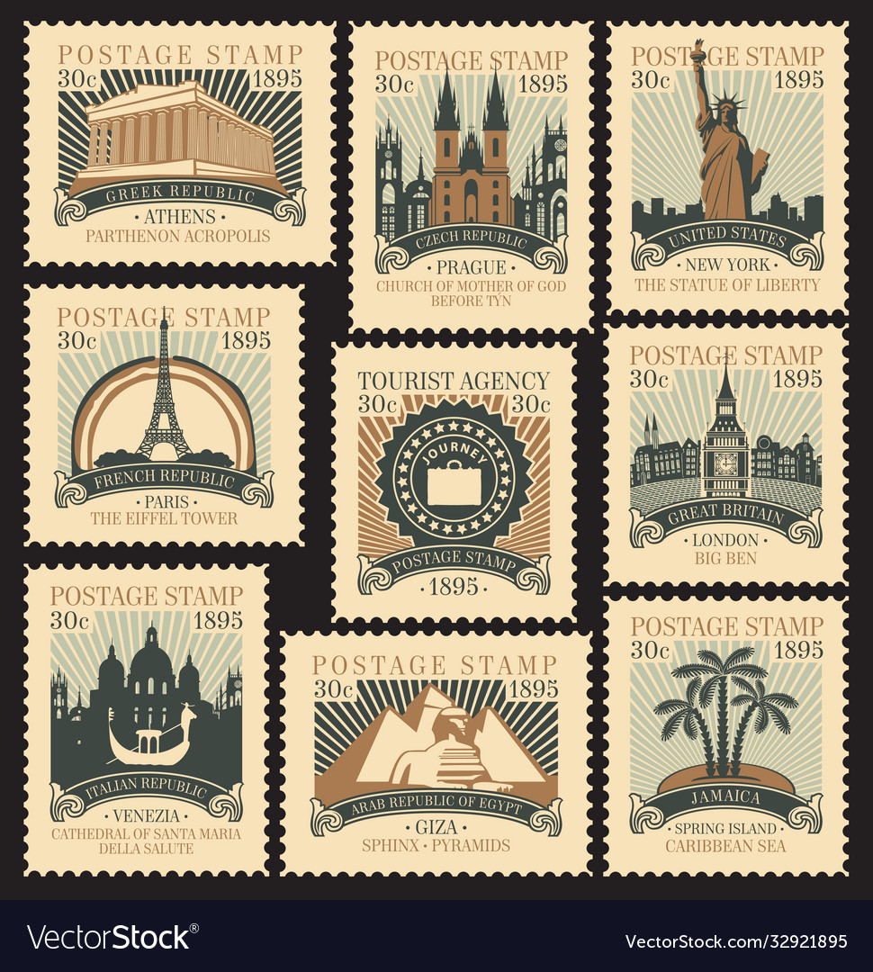 Set postage stamps on travel theme