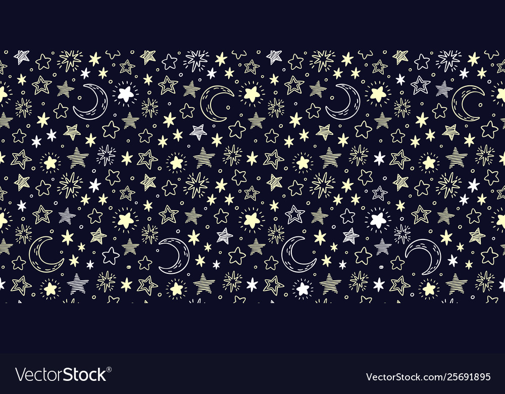 Star pattern starry sky crescent moon and bright