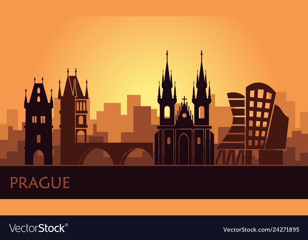 Stylized landscape of prague with the main sights
