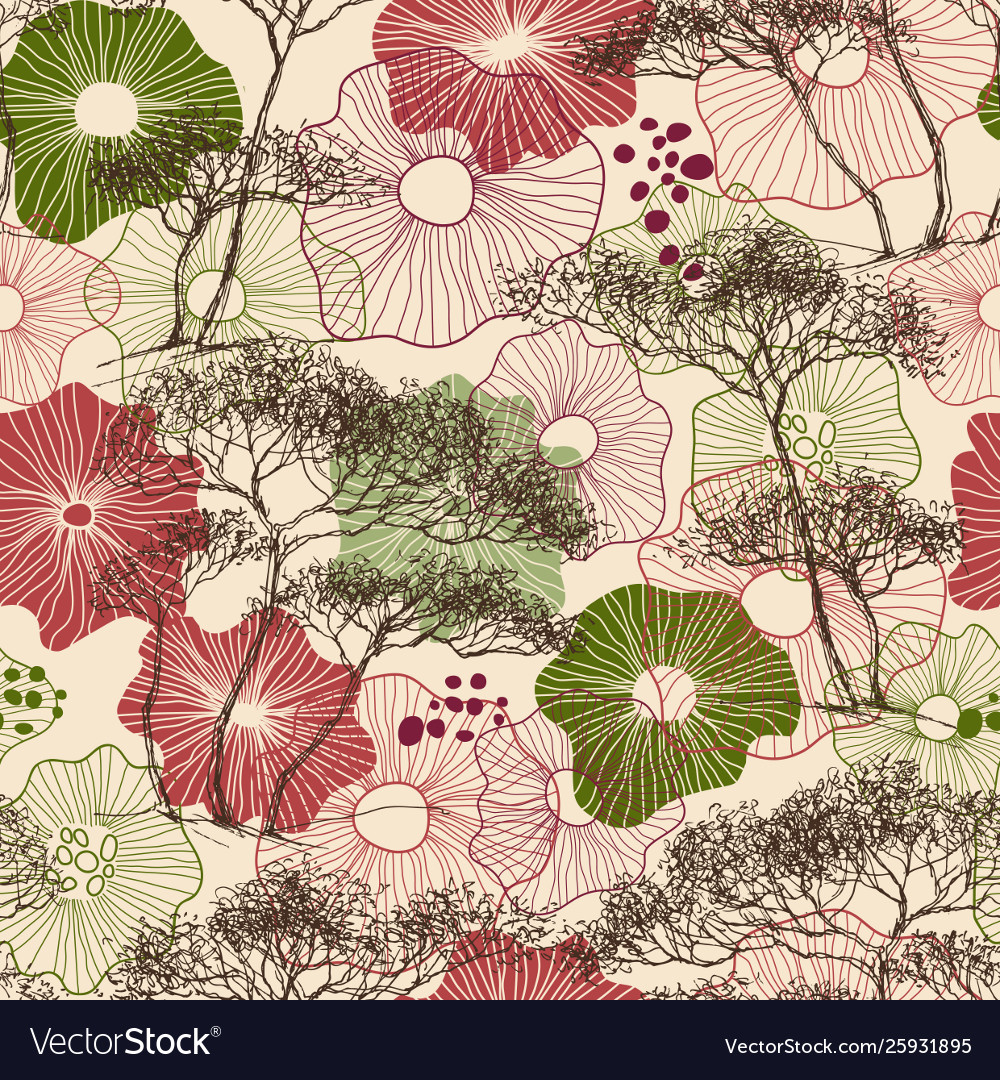 Trees and flowers seamless pattern nature print
