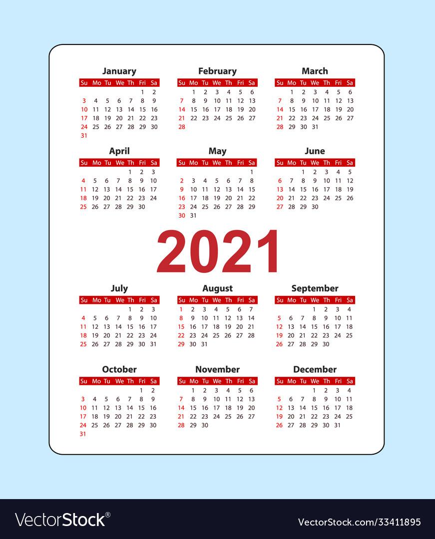 2021 Calendar With Pockets Vertical pocket calendar 2021 year week starts Vector Image