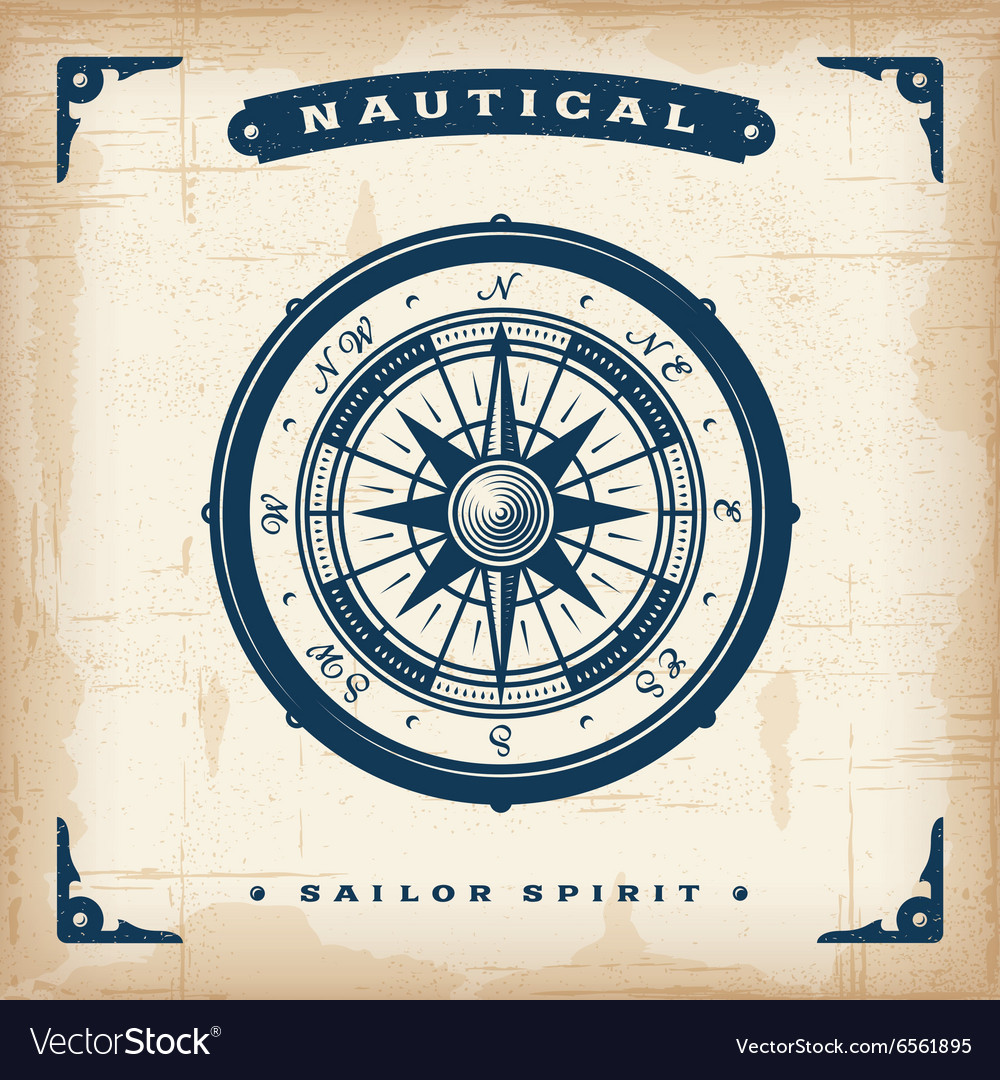 Vintage Nautical Compass vector image