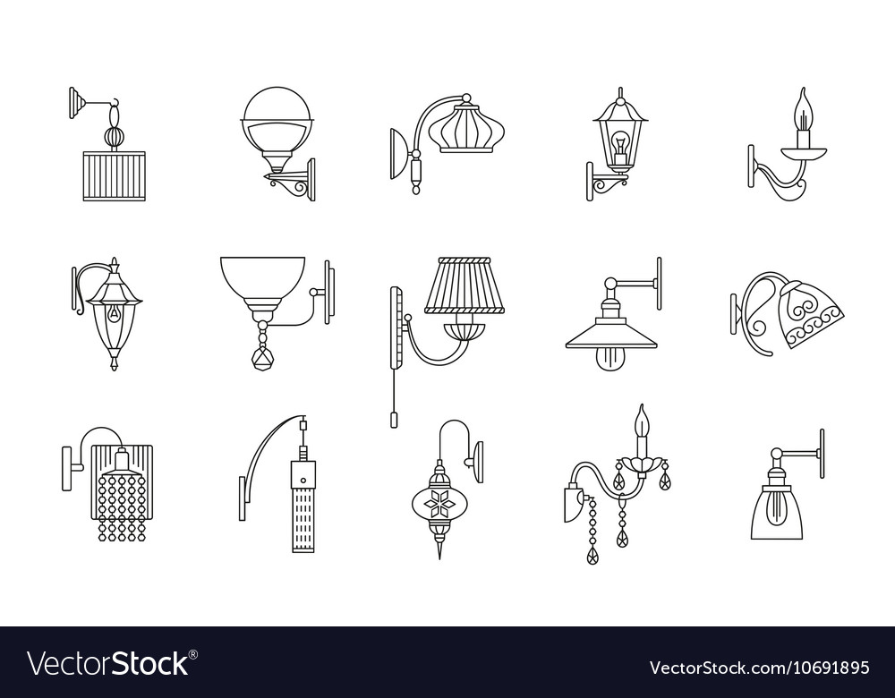Wall lamps line icons set