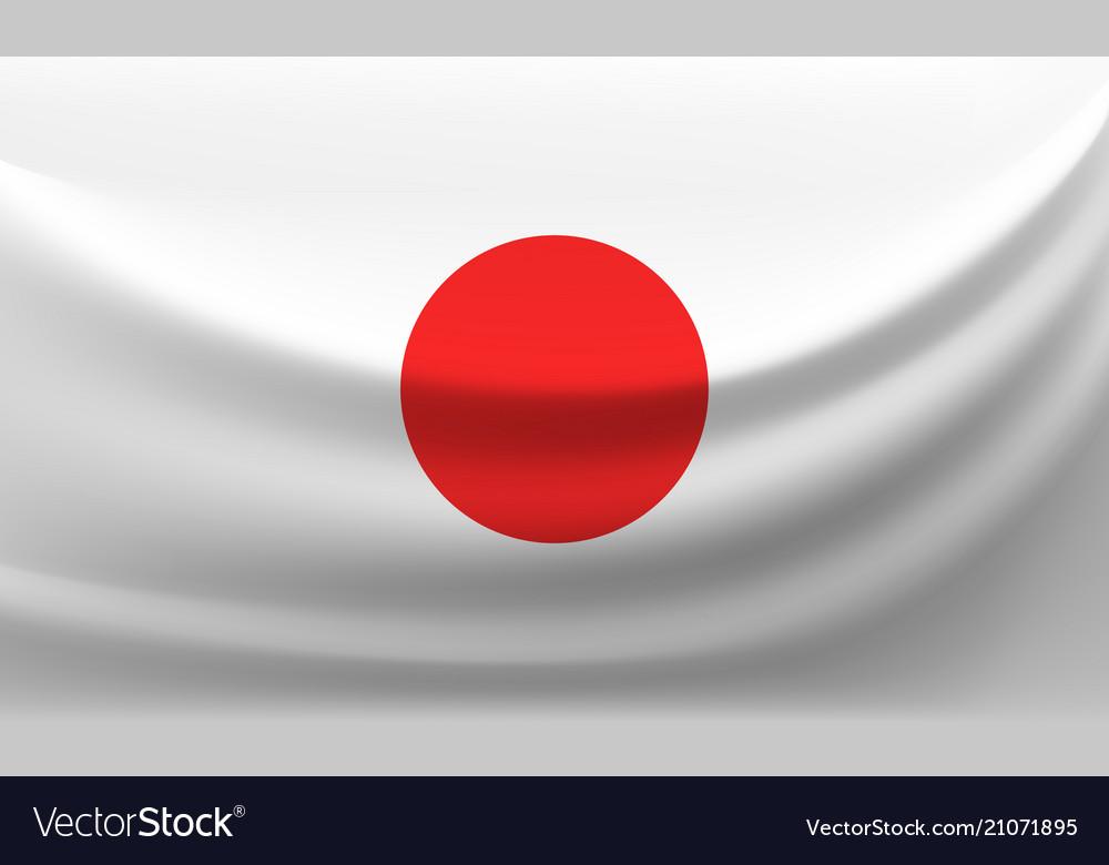 Waving national flag of japan vector image