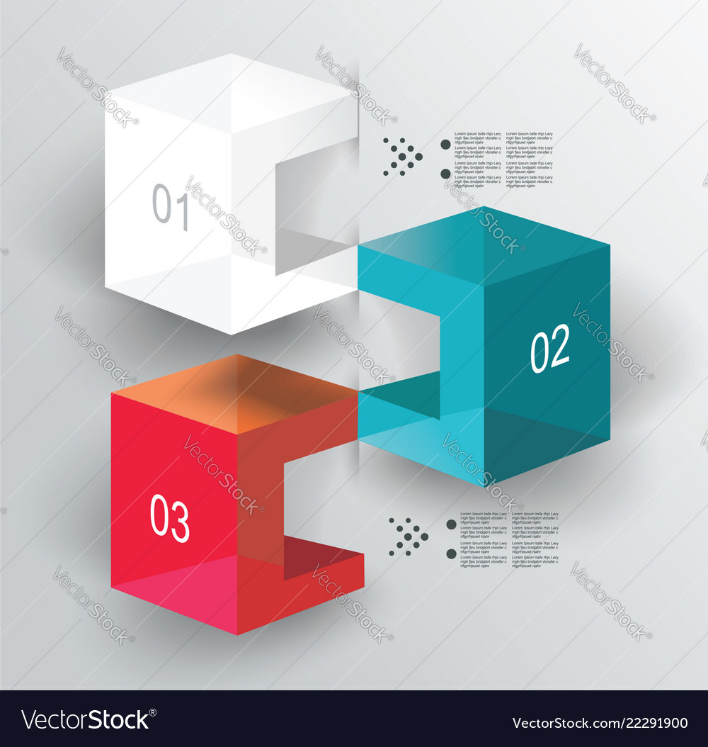 Abstract cubes infographics with options template