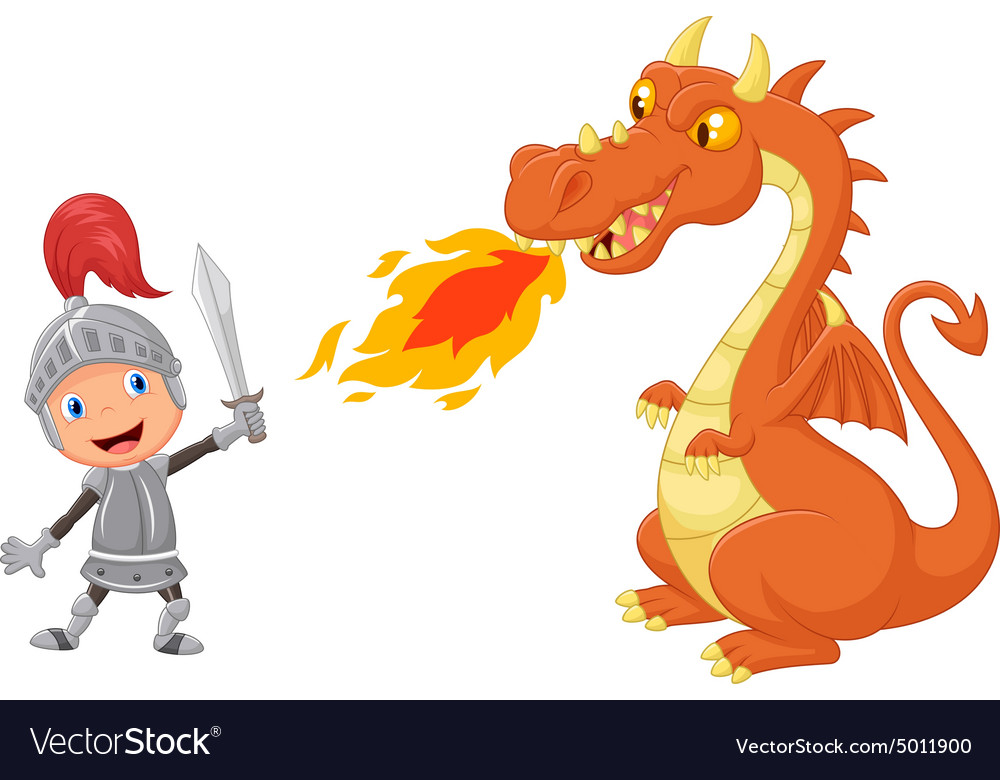 Image result for knights fighting dragon cartoon