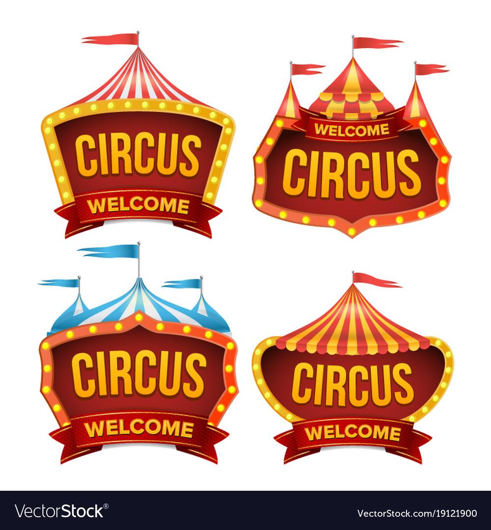 Circus Sign Set Night Carnival Sign Royalty Free Vector